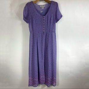 Purple Shift Dress Layered Floral 90s Sz 14